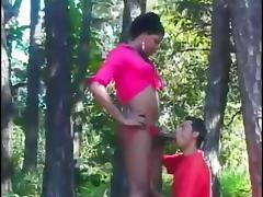 Mutual interracial blowjob outdoors