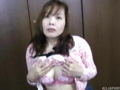 Asian MILF with a big bush gets on top and grinds her pussy porn tube video