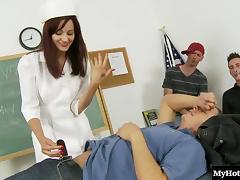 Sexy brunette Phoenix Askani dressed in a school nurses uniform porn tube video
