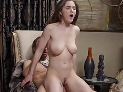 Naturally endowed girl has her trimmed pussy penetrated
