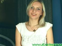 Teen blonde strips and gets pounded hard on her hands and knees