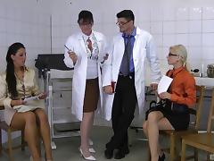 Sexy babes go down and get penetrated hard in the hospital