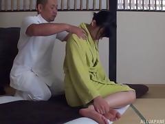 Massage, Asian, Blowjob, Bra, Couple, Cowgirl