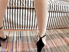 Girl in fishnets gets her pussy pumped before fucked porn tube video