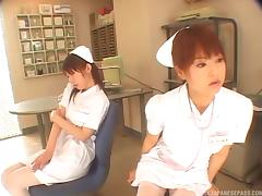 Nurse in white stockings and a garter belt fucks a patient
