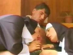 Two horny nuns take a soldier's cock and ride it like crazy tube porn video