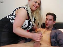 Huge breasted English mama fucking and sucking her boy