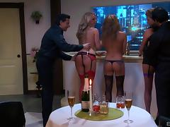 Three of the most graceful babes and two fully erected peckers porn tube video