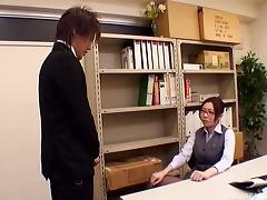 Boss bends the secretary over his desk and fucks her