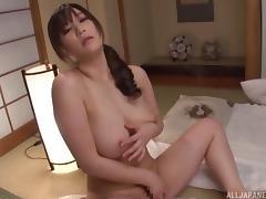Babe gropes her big natural Asian tits and masturbates porn tube video