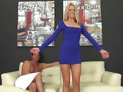 Horny blonde model blowjobs and get her cunt fucked on a white couch tube porn video
