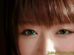 Slimed japanese babe in costume pussyrubbed porn tube video