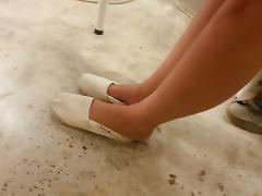 My exgf cute feet in toms with crushed heels - candid porn tube video