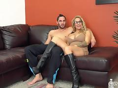 Huge tits milf babe in boots banging in a live show