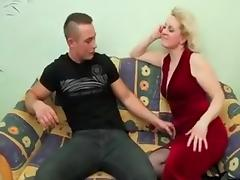 Hot Blonde Mature Granny in Stockings porn tube video
