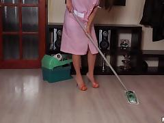 He catches the maid fingering so he joins in and fucks her