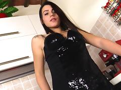 Shiny clubbing dress on a beautiful girl showing off her feet porn tube video