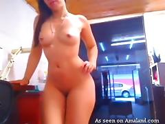 brunette slut plays with her toy in front of the camera porn tube video