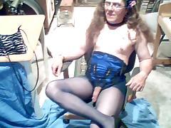 Mature crossdresser in pantyhose wanking solo