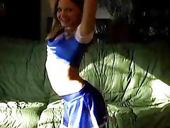 Cute teenie cheerleader plays with her cunt