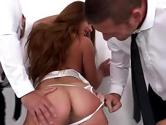 Two employees abusing their Boss by anal fisting porn tube video