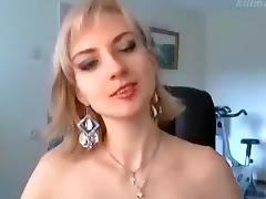 Blonde Dreamkiska masturbating in a black chair porn tube video