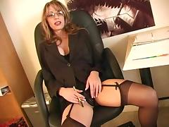 Shelley always wears stockings and always feels so horny!