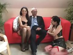 Old Man, Brunette, Group, Hardcore, Old Man, Orgy
