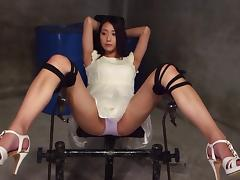 Cuffed and collared Japanese girl fingered and fucked porn tube video