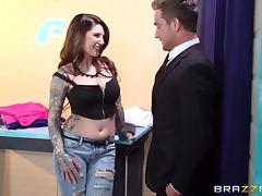 Hot tatted up MILF begs him to bang her in the dressing room tube porn video