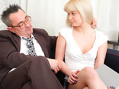 TrickyOldTeacher - Sexy blonde student sucks cock of teacher and fucked to better grade porn tube video