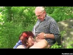 Granny and Grandpa fuck outdoor porn tube video
