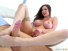 Experienced MILF pornstar in pantyhose gets fucked by a big dick man porn tube video