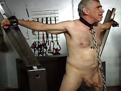 Older Male Slave is Chained and Gagged tube porn video