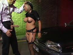 Slutty cop with big fake titties sucking big cock
