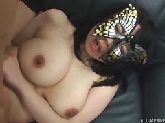 Masked curvy Japanese girl pleasures his cock erotically tube porn video