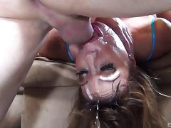 Tattooed cougar milking a hard cock as she gets screwed till she gets a facial in mmf