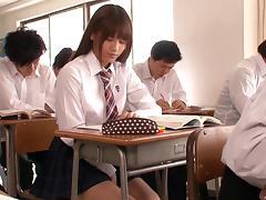 Plaid skirt girl in class taking cock from her teacher