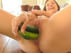 Polka dot panties girl fucking green veggies and getting wet
