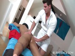 Sexy masseur rubbing penis