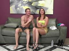 After a good fuck he pulls out and drains his balls on her tits porn tube video