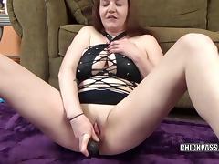 Busty MILF Sinful Skye stuffs her twat with a big dildo