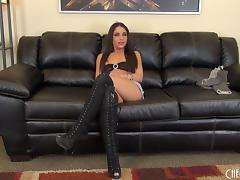 Giselle has the black shoes and the mighty black vibrator