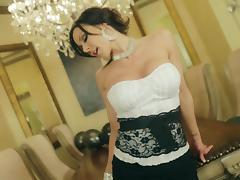 Charming demoiselle with huge tits enjoys the missionary sex