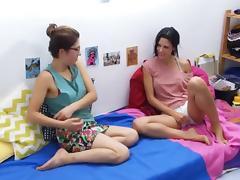 Two junior ladies enjoy watching each other masturbate