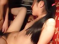 Hairy Asian gf hottie gets a cumshot after sex porn tube video