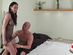 Trannies and a horny guy have an all anal threesome
