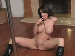 Busty pole dancer plays with pussy porn tube video