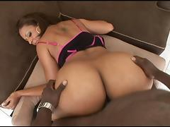 Mya's big booty jiggles as she slams herself down on his black cock