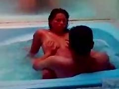 My wife Naty is fucking with his friend in the jacuzzi. tube porn video